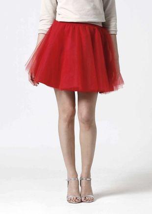 Tylová sukňa Mini červená