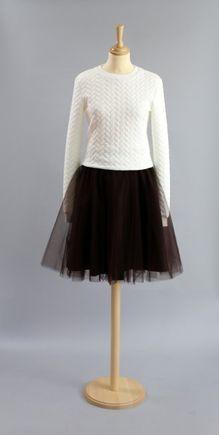 Tylová sukňa tmavo hnedá