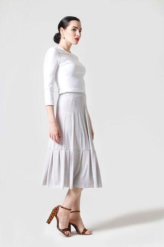 Sukňa Midi jednofarebná bledo šedá