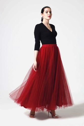Tylová sukňa dlhá bordová