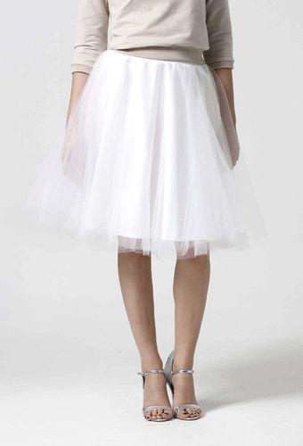 Tylová sukňa Midi biela