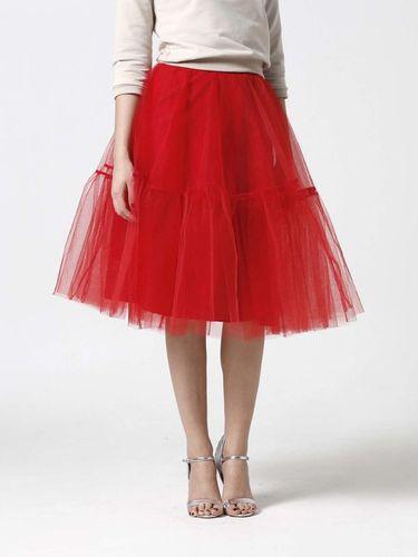 Tylová sukňa Midi červená s volánmi