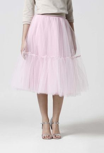 Tylová sukňa Midi ružová s volánmi